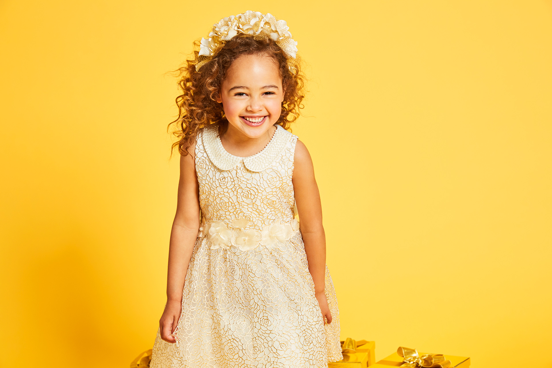 girls bridesmaid dress fashion kids yellow