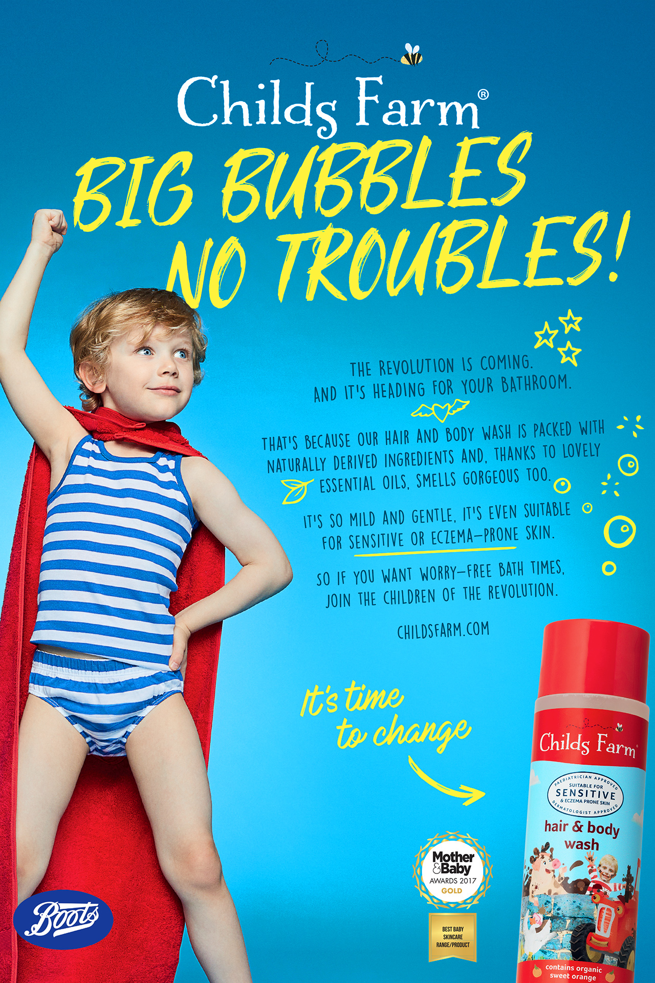 Childs Farm Advert BIG BUBBLES NO TROUBLES Emma Tunbridge
