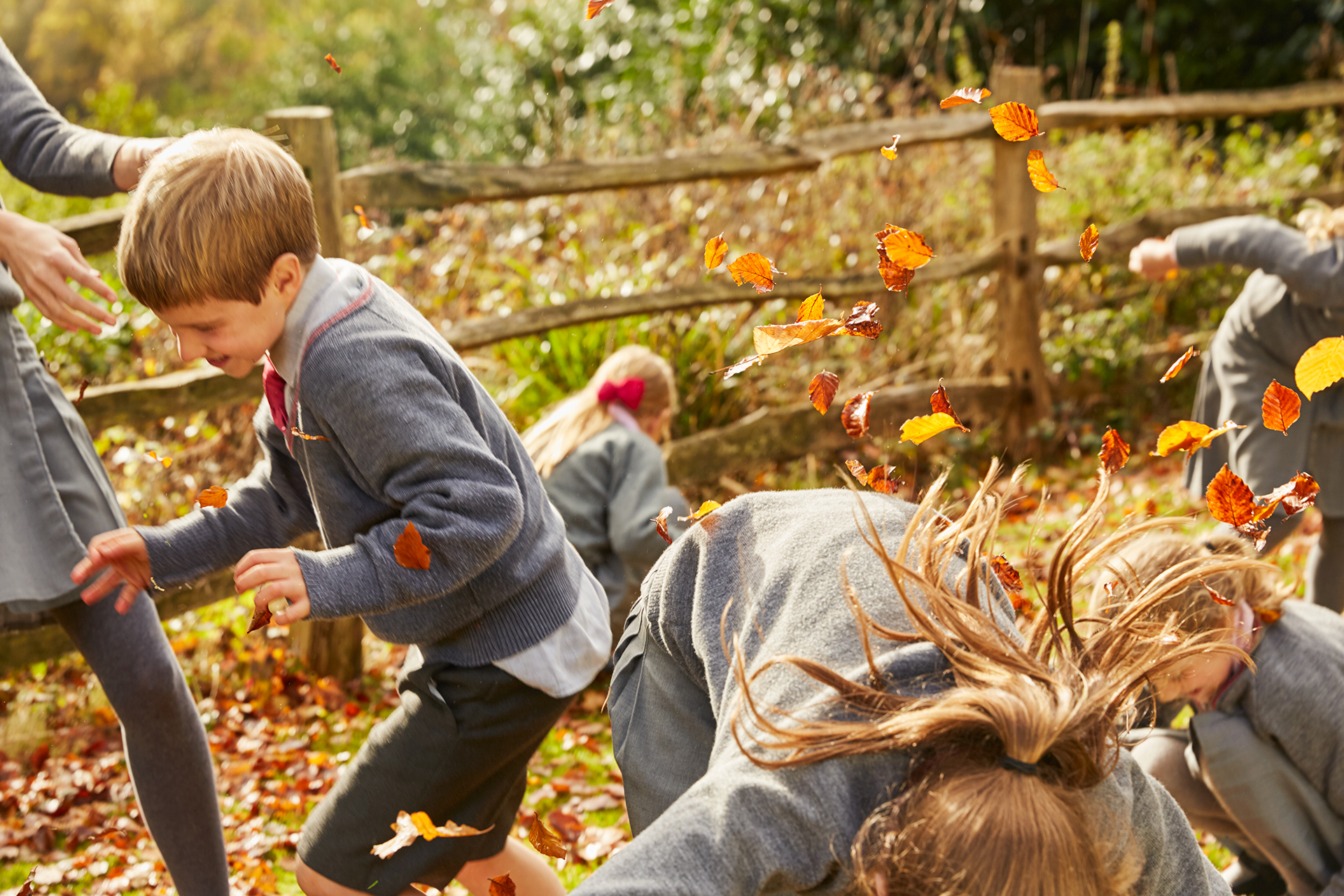 School children throwing autumn leaves
