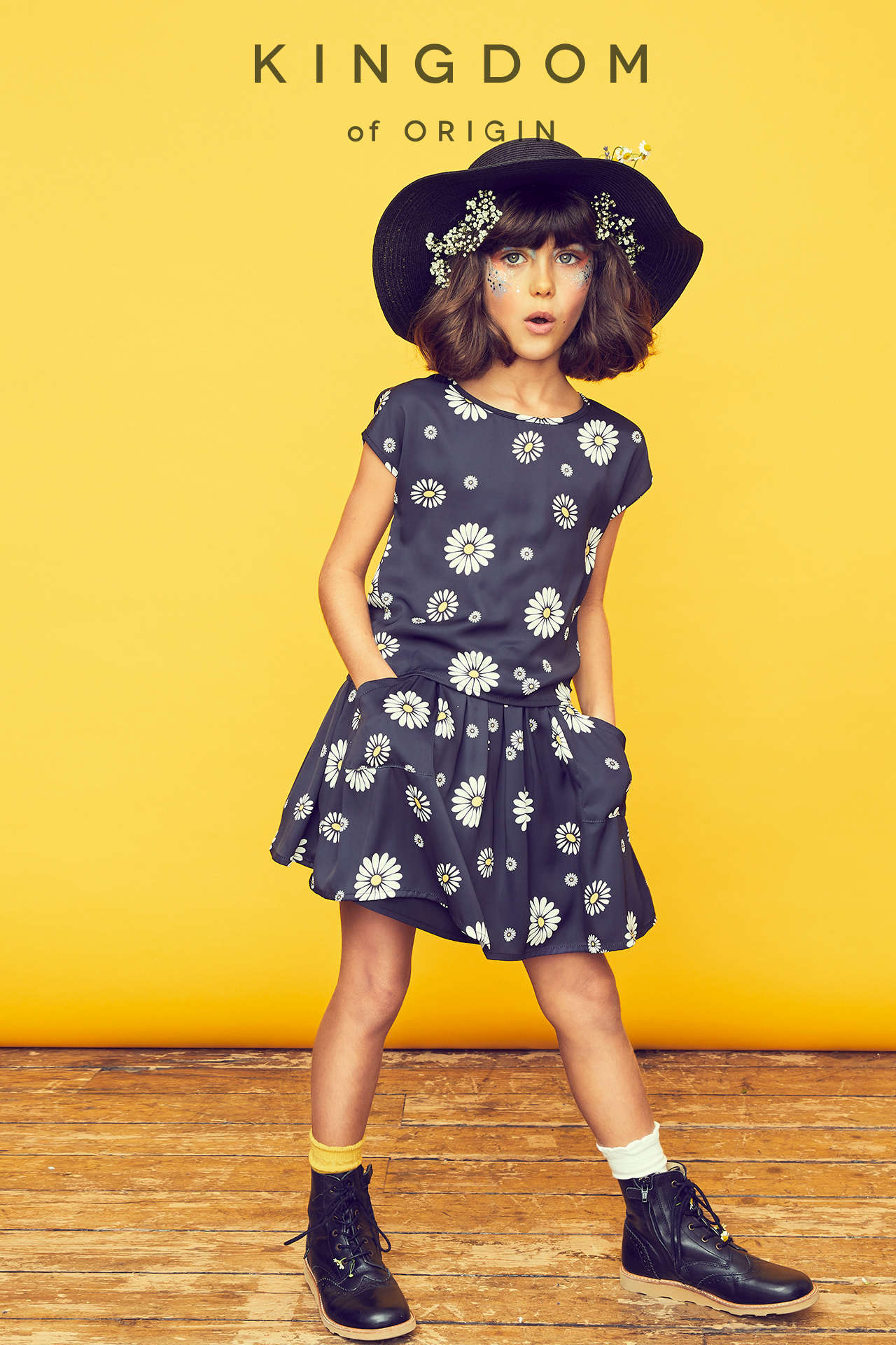 KOO girl kids fashion dancing in hat and floral boho dress