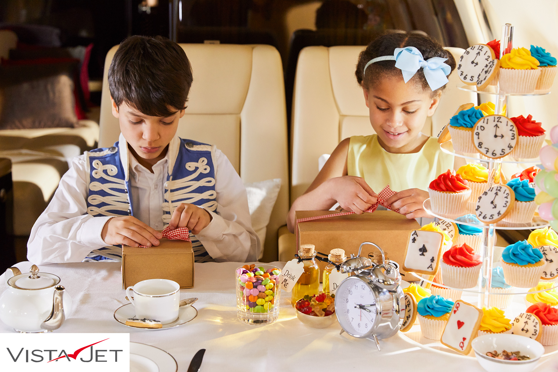 Children doing craft on plane