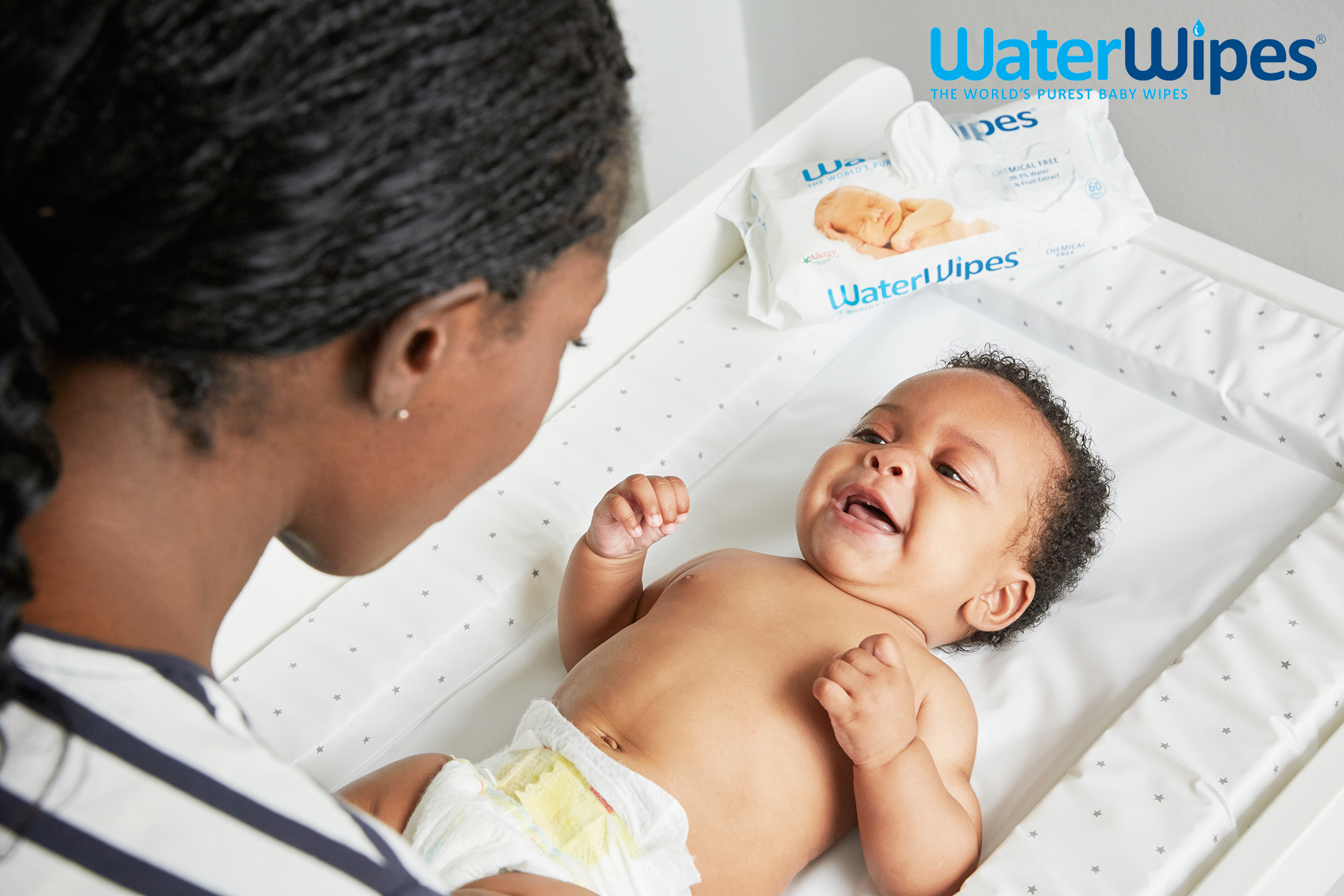 WaterWipes mother changing baby Emma Tunbridge