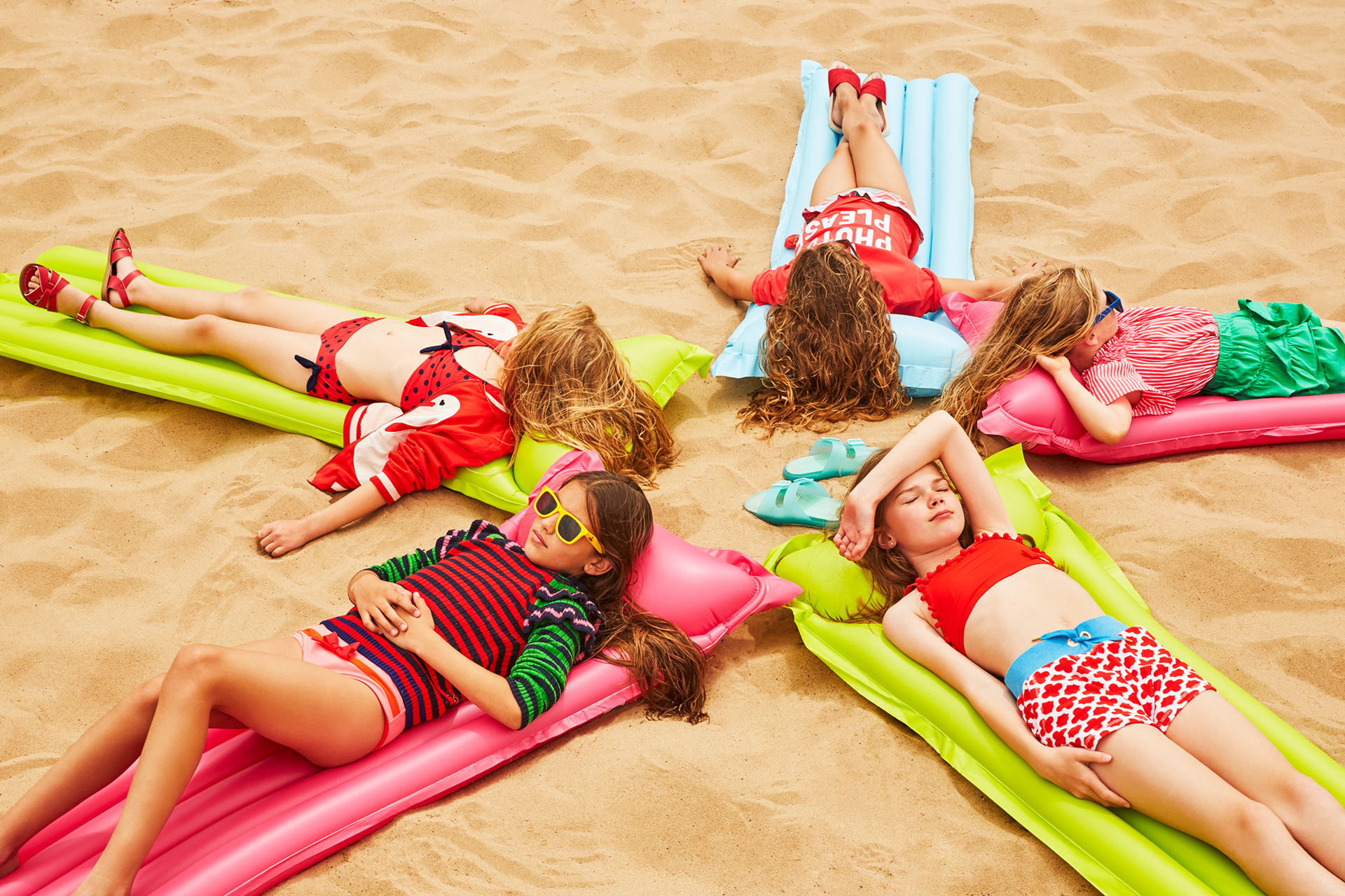 Kids fashion editorial girls swimwear beach