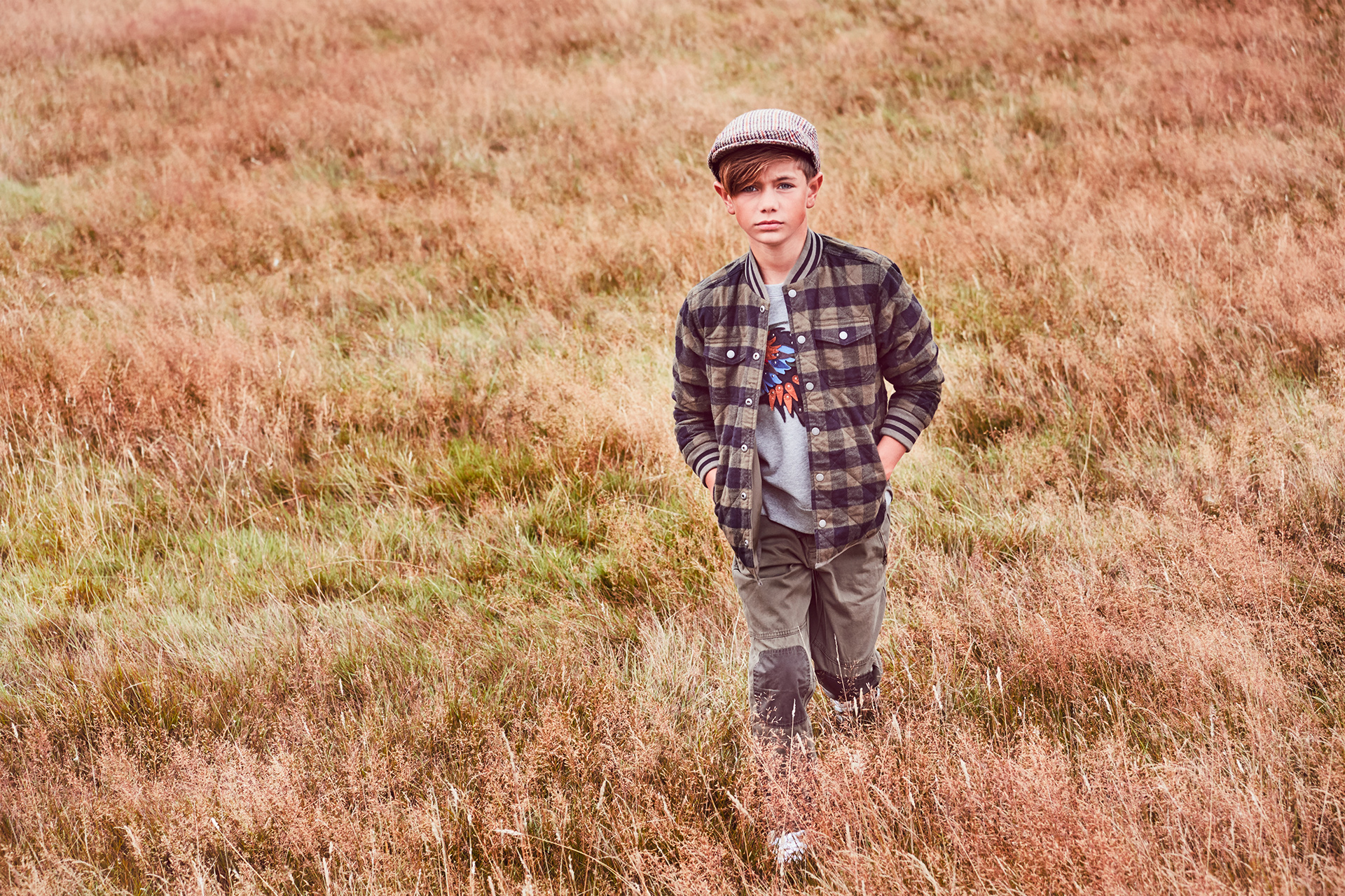 boys fashion editorial grass field
